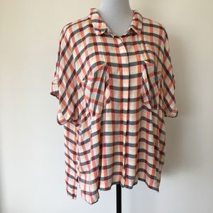 A New Day Short Sleeve Button Down Plaid Top